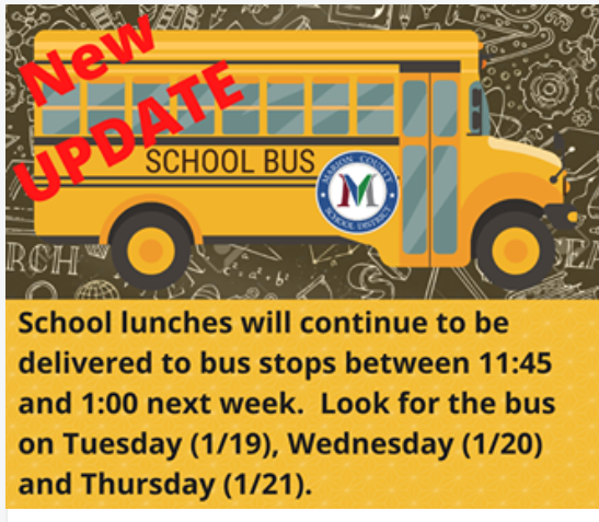 School Lunch Delivery from 11:45am - 1:00pm