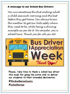 School bus driver appreciation flyer