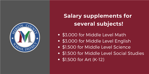 Salary supplements for teaching positions in Marion County SC
