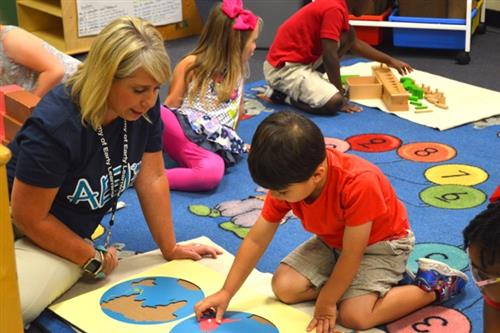 School leader working with an AEL student